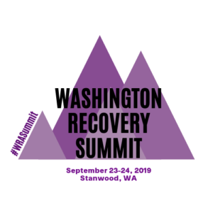 Image of purple mountains with Washington Recovery Summit text